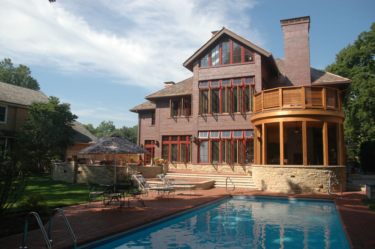 Winnetka House on Lake Michigan, rear facade