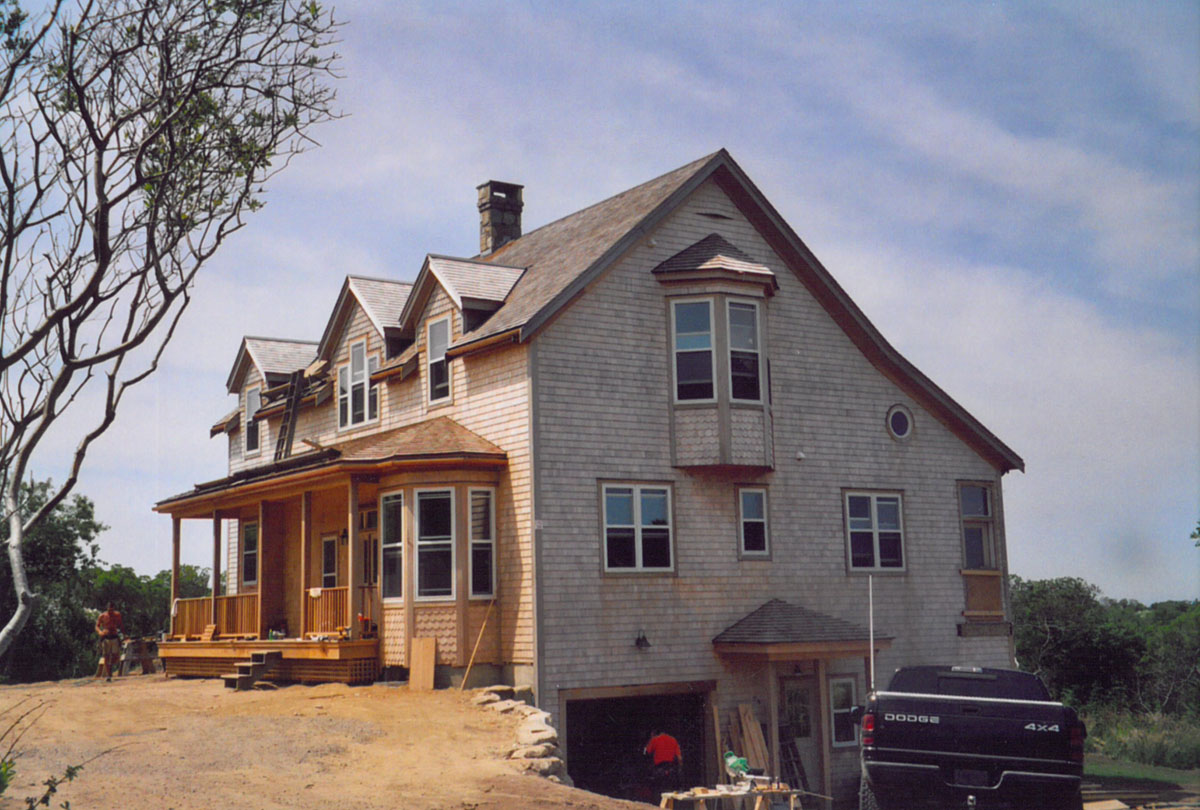 Block Island House, view of entrance during construction